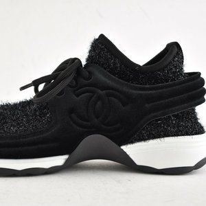 CHANEL Knit Sock Sparkle Trainer Sneaker CC Logo